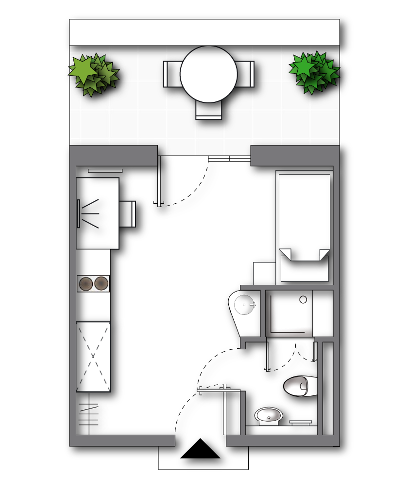 "Standard Apartment (top floor)  <br>  <span style=""font-size:12px"">  approx. 17 to 20 sqm (plus roof terrace); ALL-IN-RENT starting from 440 € p.m. </span>"